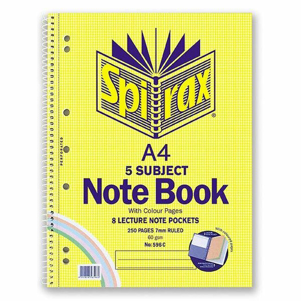 Spirax 596c 5 Subject Notebook Coloured A4 250 Page X CARTON of 5 56596C