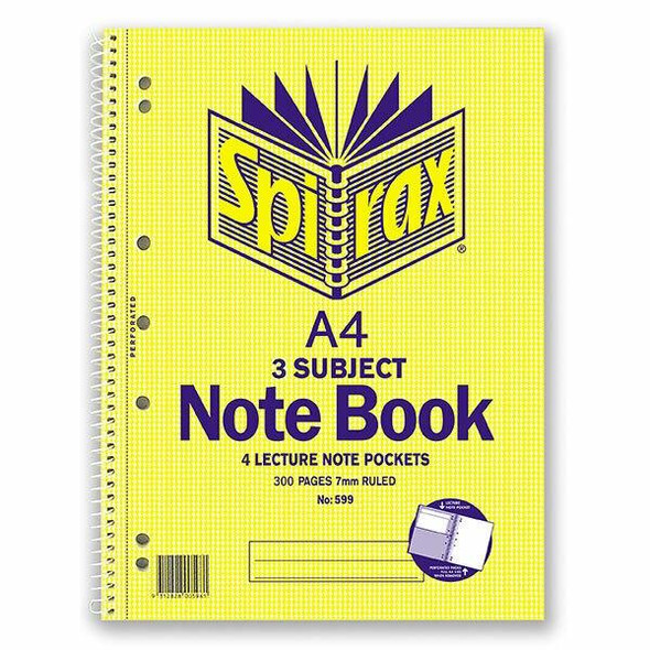 Spirax 599 3 Subject Notebook A4 300 Page X CARTON of 5 56599