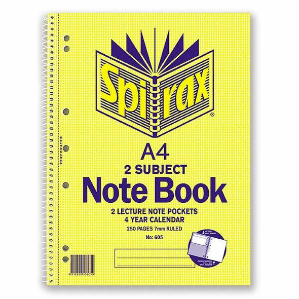 Spirax 605 2 Subject Notebook A4 250 Page X CARTON of 5 56605