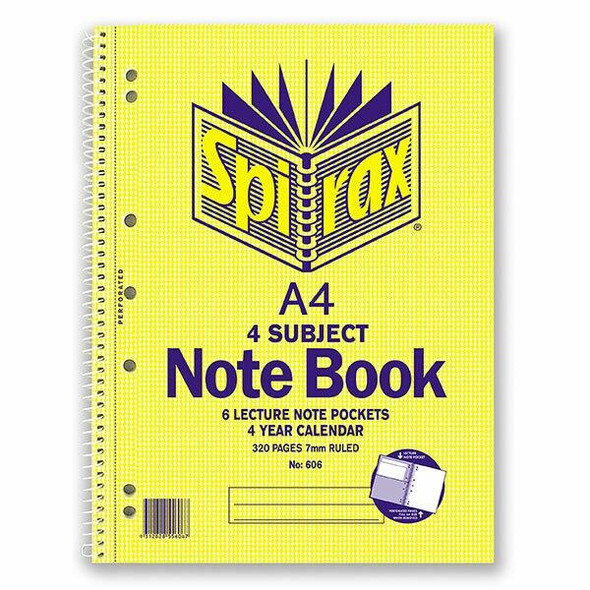 Spirax 606 4 Subject Notebook A4 320 Page X CARTON of 5 56606