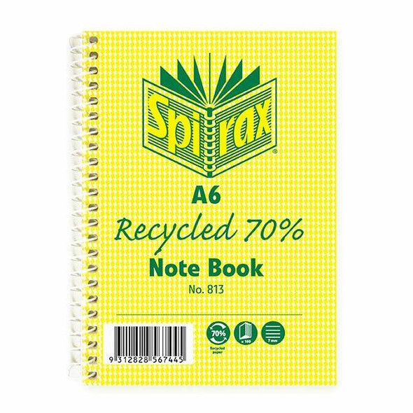 Spirax 813 Recycled Notebook A6 100 Page X CARTON of 5 56803