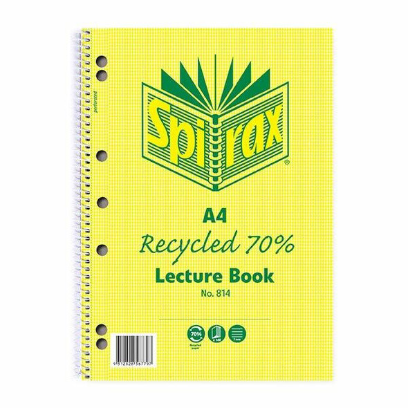 Spirax 814 Recycled Lecture Book A4 140 Page X CARTON of 5 56804