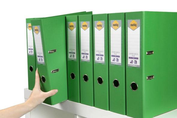 Marbig Lever Arch File Foolscap Green X CARTON of 10 6502604