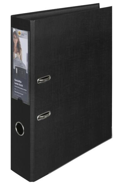 Marbig Professional Lever Arch File Quickfile Foolscap Black X CARTON of 10 6506002