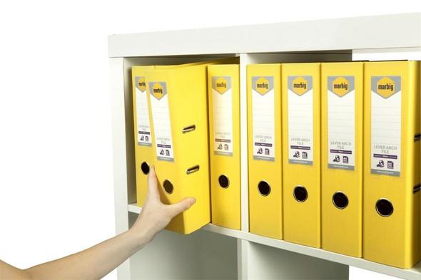 Marbig Lever Arch File A4 Pe Lemon X CARTON of 10 6601005