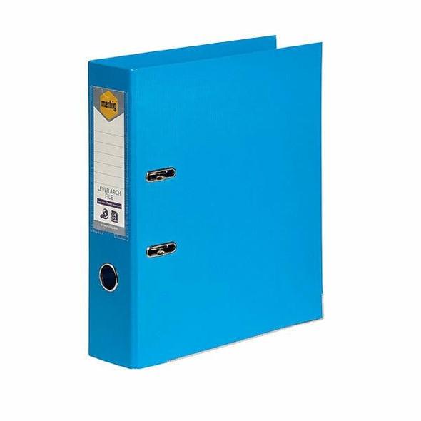 Marbig Lever Arch File A4 Pe Sky Blue X CARTON of 10 6601017