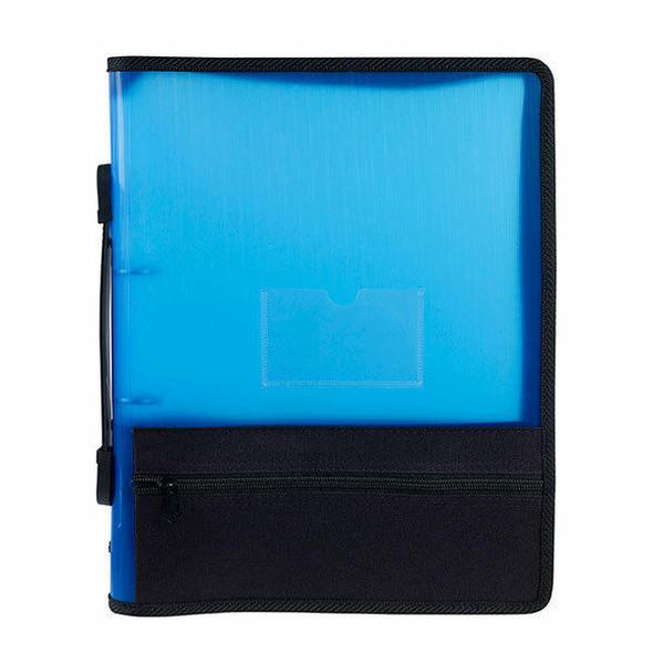 Marbig Zipper Binder W/ Extra Storage 25mm 2o Blue X CARTON of 10 6680001