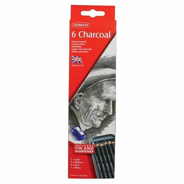 DERWENT Charcoal Pencil Tin 6 X CARTON of 6 700838
