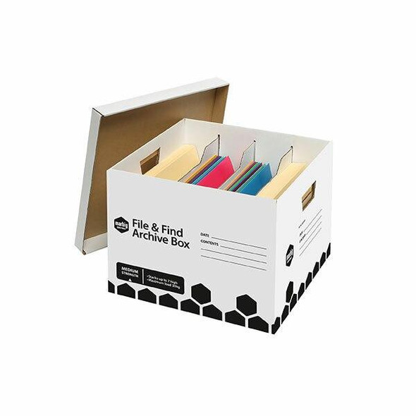 Marbig Archive Box File and Find X CARTON of 5 800501B