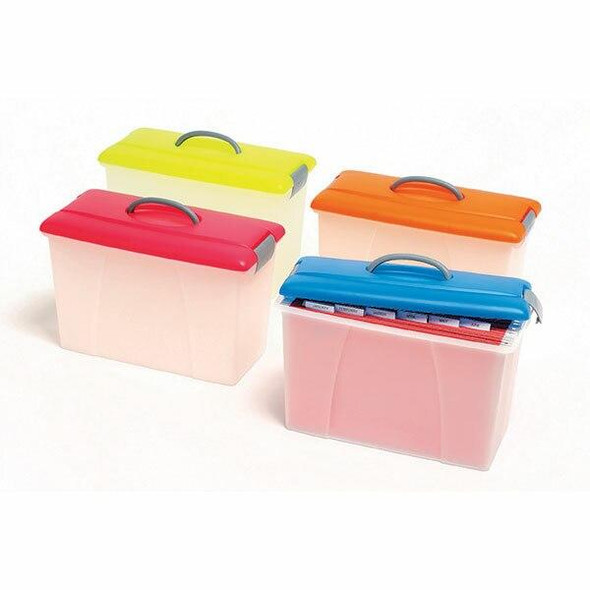 Crystalfile Carry Case 18 Litre Lime Lid/Clear Base X CARTON of 6 8007804