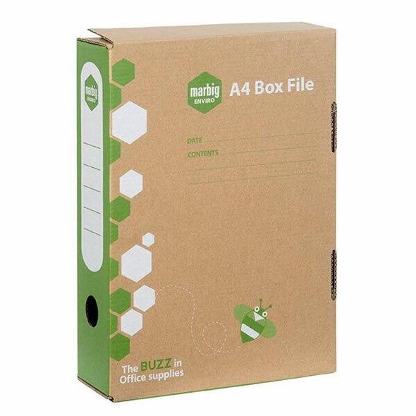 Marbig Enviro Box File A4 80mm Kraft X CARTON of 8 80079