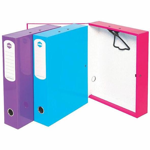 Marbig Box File Foolscap Heavy Duty Pink X CARTON of 4 8008809A