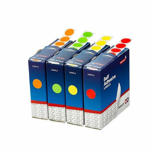 Quikstik Label Dispenser Circle 14mm Fluoro Yellow 700 Labels 80103CPFY