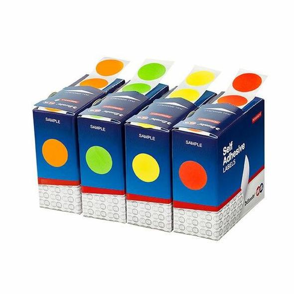Quikstik Label Dispenser Circle 24mm Fluoro Yellow 400 Lab 80108CPFY