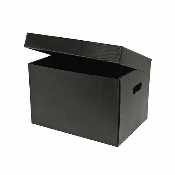 Marbig Corflute Box W/Attached Lid Black 8015002