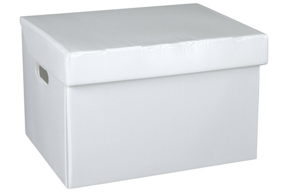 Marbig Corflute Box W/Attached Lid White 8015008
