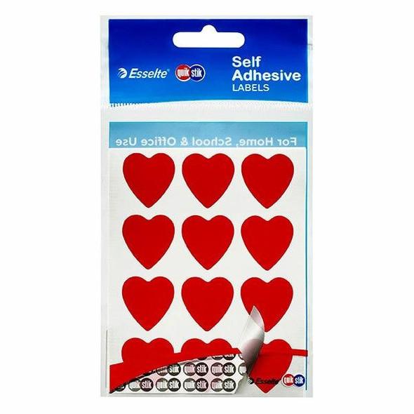 Quikstik Labels Hangsell Red Heart 48 80375PRED