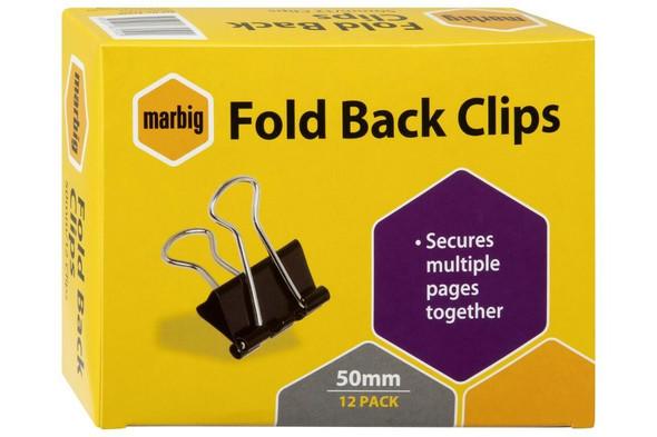 Marbig Fold Back Clips 50mm Box12 X CARTON of 12 87050