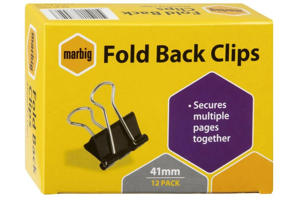 Marbig Fold Back Clips 41mm Box12 X CARTON of 12 87055