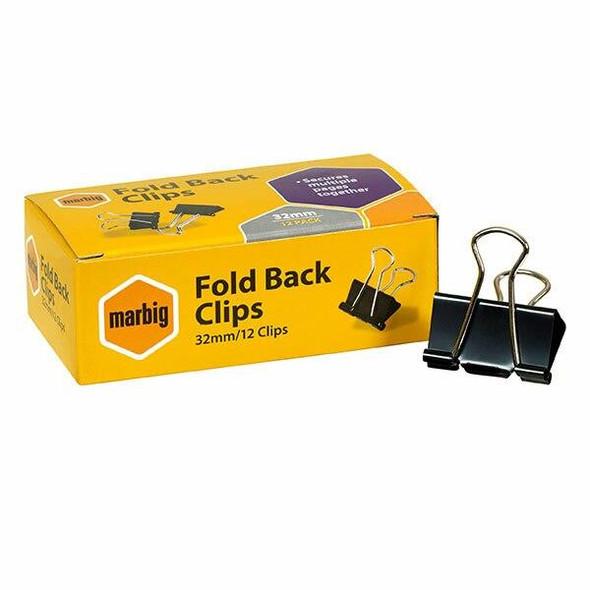 Marbig Fold Back Clips 32mm Box12 X CARTON of 12 87060