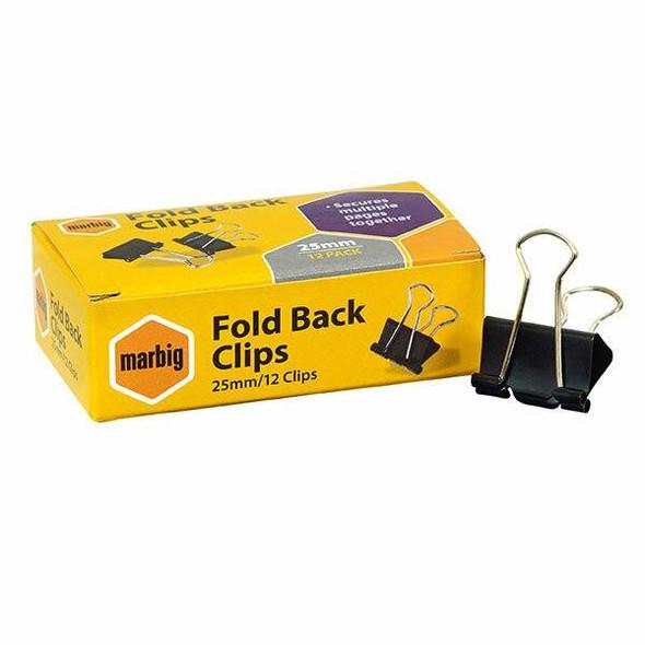 Marbig Fold Back Clips 25mm Box12 X CARTON of 12 87065
