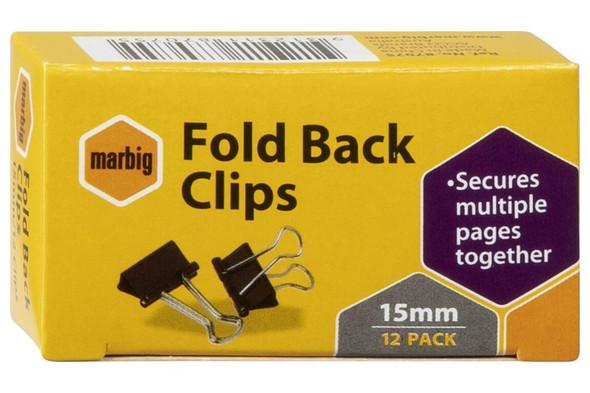 Marbig Fold Back Clips 15mm Box12 X CARTON of 12 87075