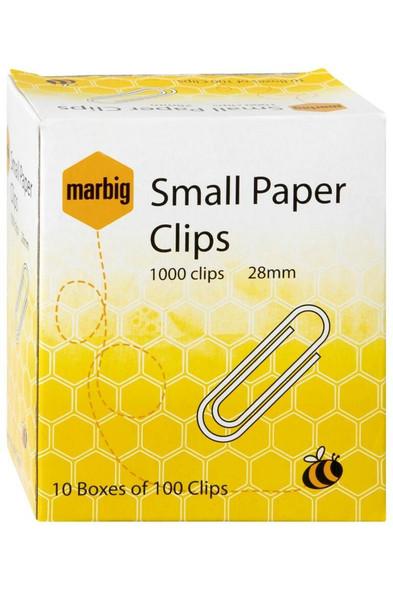Marbig Paper Clips 28mm Small Box100 X CARTON of 10 87080