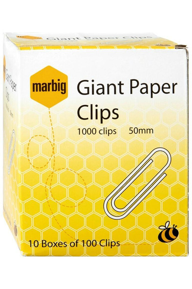 Marbig Paper Clips 50mm Giant Box100 50mm Giant Box100 X CARTON of 10 87090