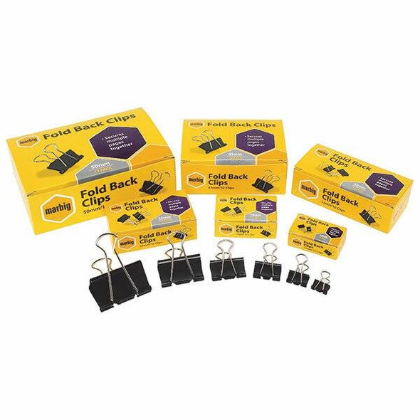 Marbig Binder Clips Assorted Sizes Tub 60 X CARTON of 10 87184