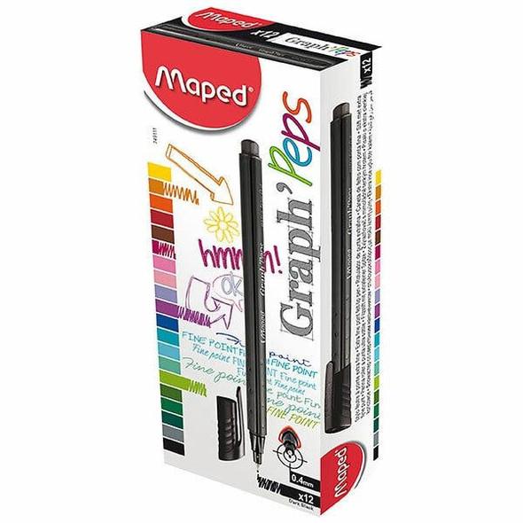 Maped Graph Peps Fineliner Dark Black Box12 8749111
