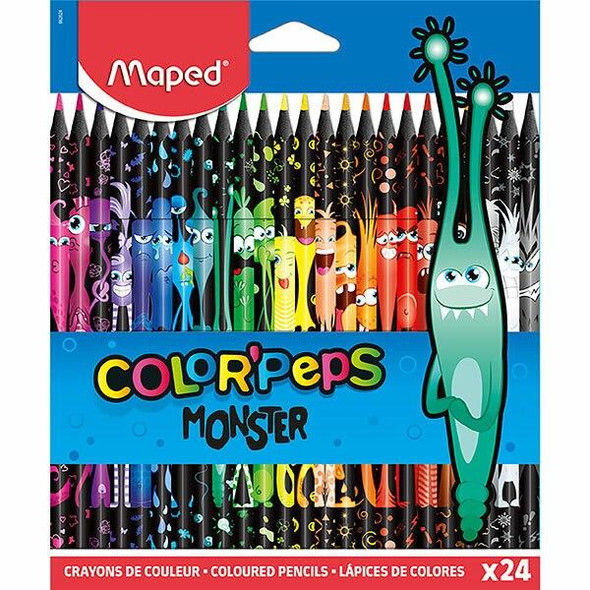 Maped Monster Colour Pencils Pack 24 Assorted X CARTON of 12 8862624