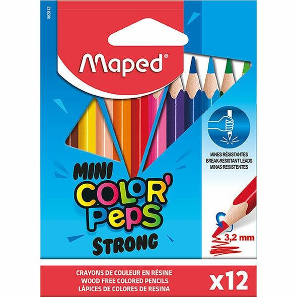 Maped Strong Colour Pencils Mini Pack 12 Assorted X CARTON of 24 8862812