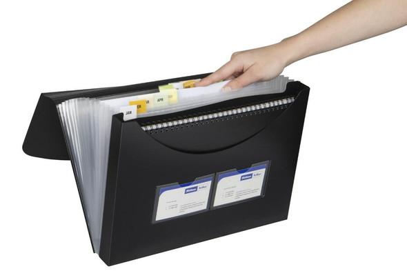 Marbig Expanding File With Storage Box Black X CARTON of 6 90022