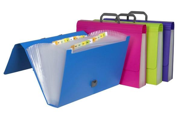 Marbig Expanding Case Foolscap 26 Pocket Summer Colours X CARTON of 4 9016799