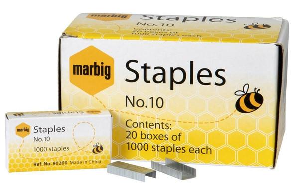 Marbig Staples No.10 Box1000 X CARTON of 20 90200