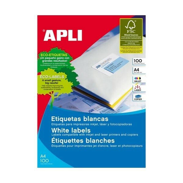 APLI Labels A4 99x38mm Round 100 Sheets 902419