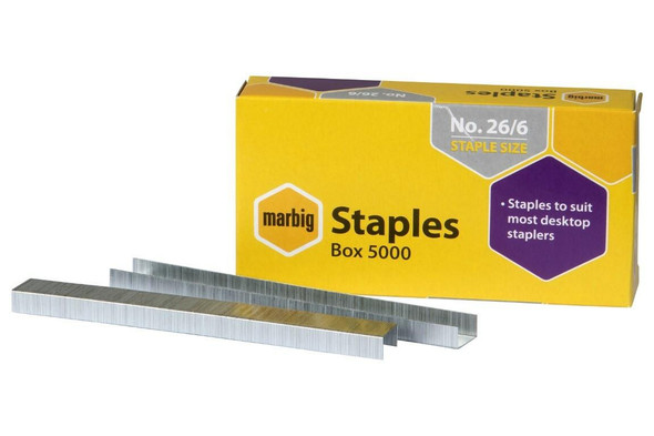 Marbig Staples 26/6mm Box5000 X CARTON of 20 90300