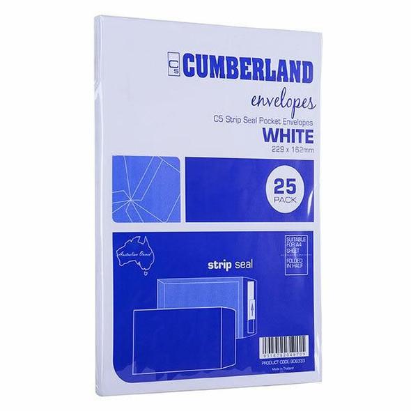 CUMBERLAND Strip Seal Pocket Envelope 85gsm C5 229 X 162mm White Pack25 906333