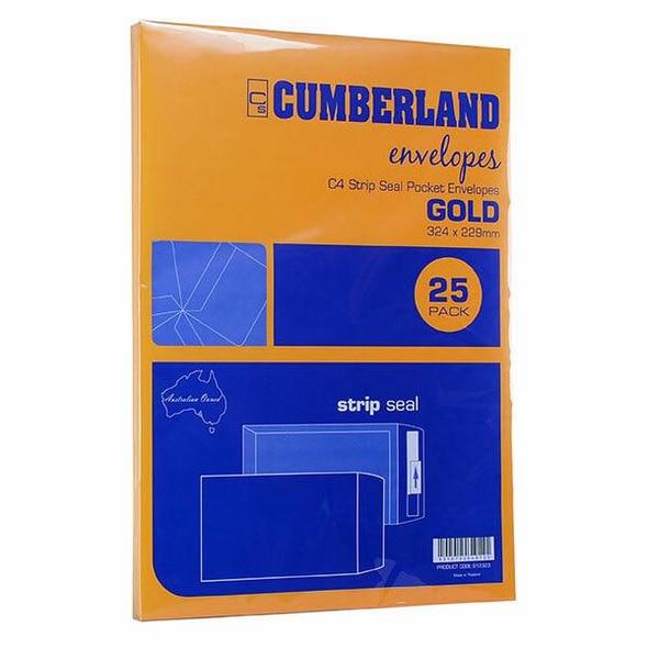 CUMBERLAND Strip Seal Pocket Envelope 85gsm C4 324 X 229mm Gold 912323
