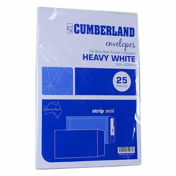 CUMBERLAND Strip Seal Pocket Envelope 100gsm C4 324 X 229mm White 912333