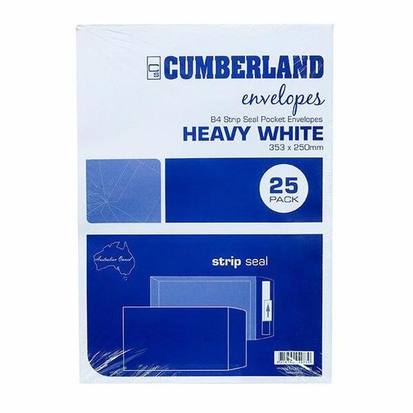 CUMBERLAND Strip Seal Pocket Envelope 100gsm B4 353 X 250mm White 913333