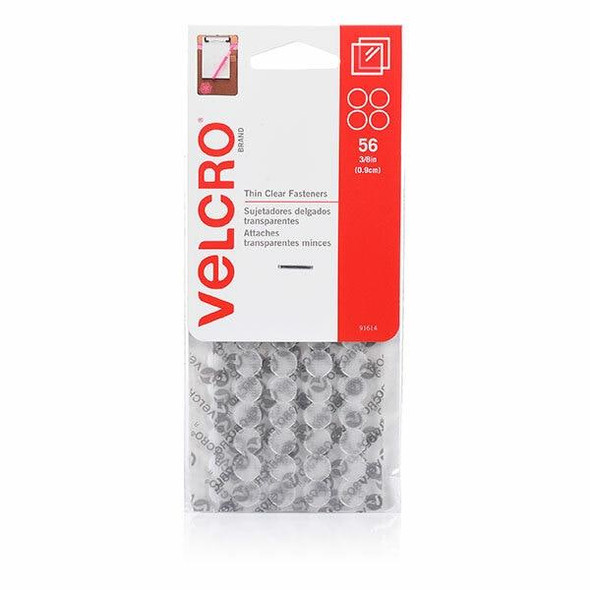 VELCRO Stick On Thin Clear Hook and Loop Dots 56 9mm 91614