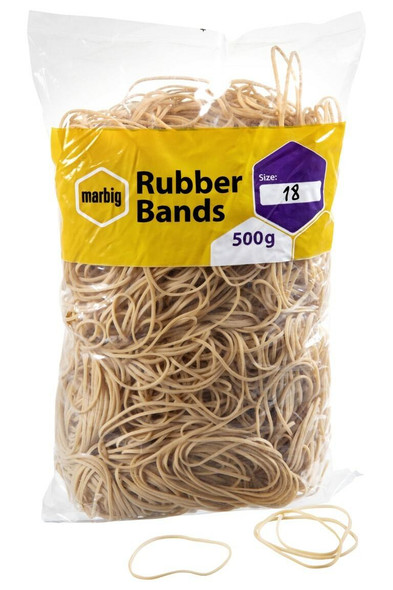 Marbig Rubber Bands Size 18 X CARTON of 5 94518500B