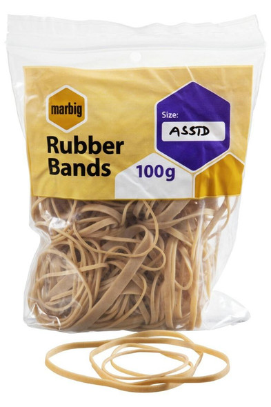 Marbig Rubber Bands Assorted 100gm 94599100B