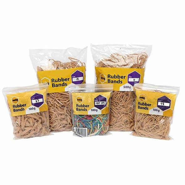 Marbig Rubber Bands Coloured Assorted 100g X CARTON of 10 94699100