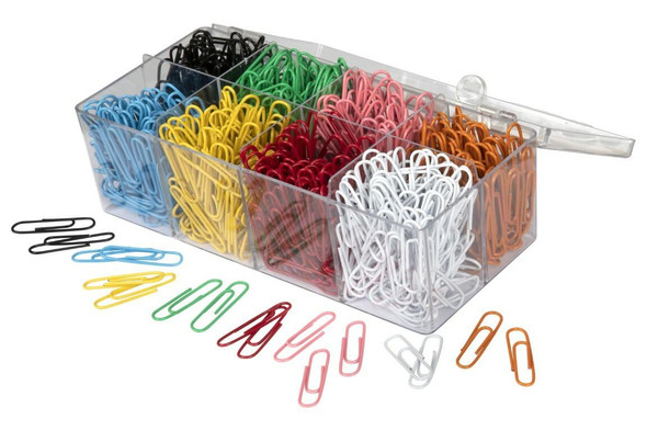 Marbig Paper Clips Assorted Colours Box800 VinYellow Coated Box800 Assorted X CARTON of 6 975262