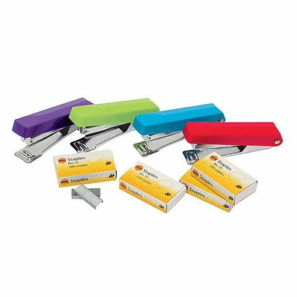 Marbig Stapler Mini Assorted 10 W/Staples X CARTON of 12 975426