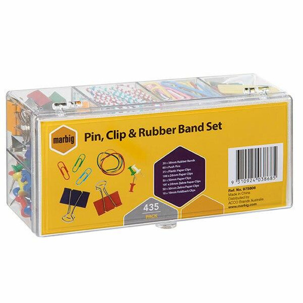 Marbig Pin, Clip and Rubber Band Set 435 Pce X CARTON of 6 975806