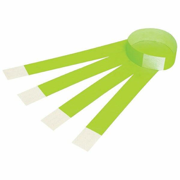 Rexel Id Serial Number Wrist Bands Fluoro Green 100Pack 9861104