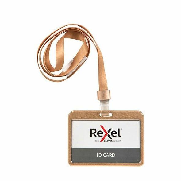 Rexel Id Card Holder With Lanyard Aluminium Rose Gold Landscape X CARTON of 10 9902004